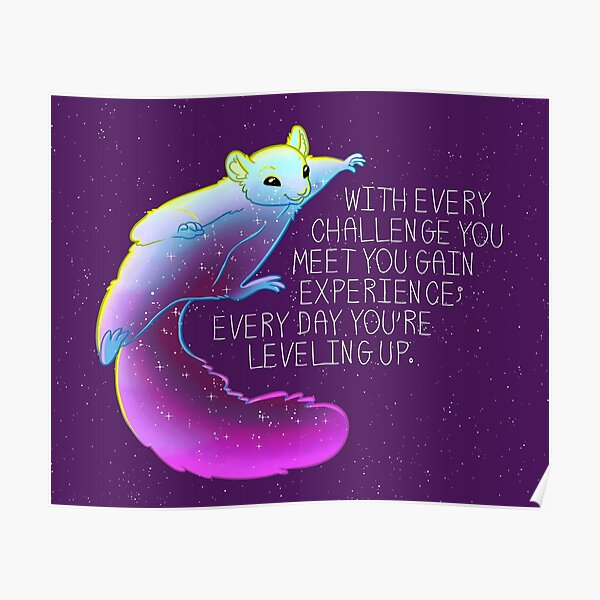 """""""Every Day You're Leveling Up"""" Flying Space Squirrel Poster"""