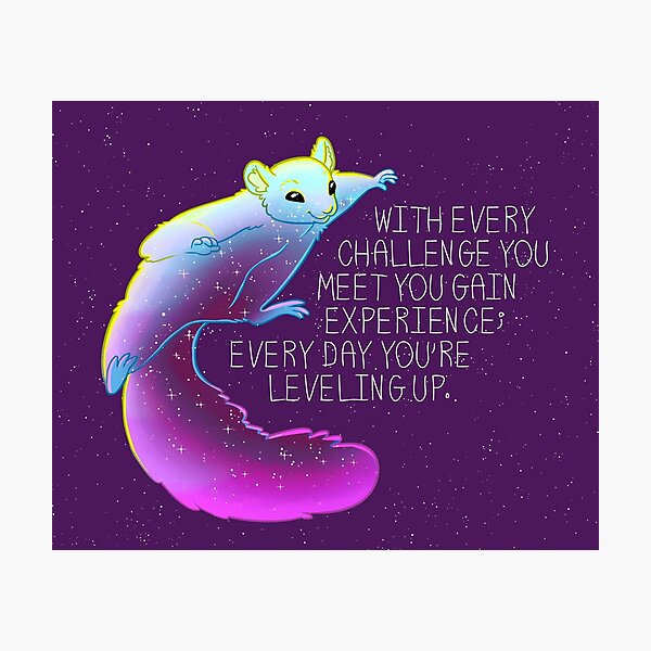 """""""Every Day You're Leveling Up"""" Flying Space Squirrel Photographic Print"""