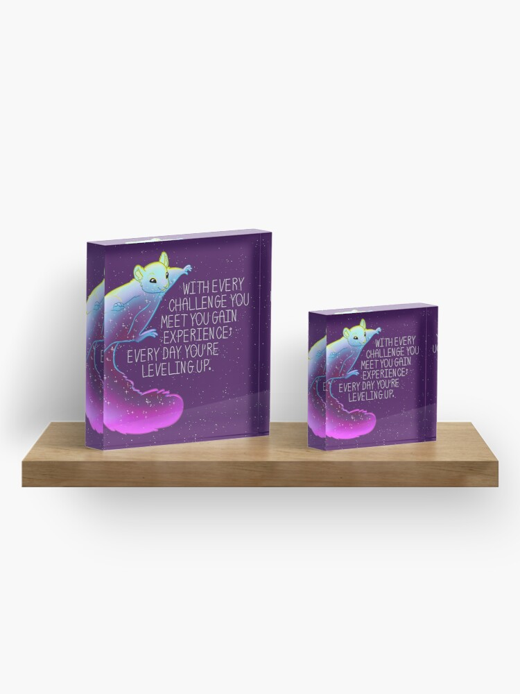 """Alternate view of """"Every Day You're Leveling Up"""" Flying Space Squirrel Acrylic Block"""