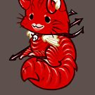 Halloween Chibi Winged Kitty - Red Tabby Devil Cat by Julia Lichty