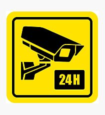 24 Hour Video Camera Warning Sign  Photographic Print