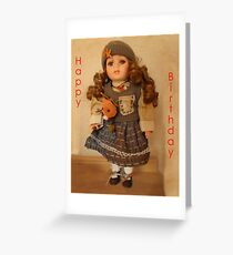 Girls, Doll Birthday card Greeting Card