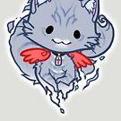 Halloween Chibi Winged Kitty - Grey Tabby Ghost Cat by Julia Lichty