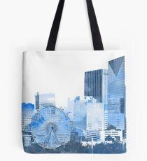 downtown atlanta skyline in blues Tote Bag