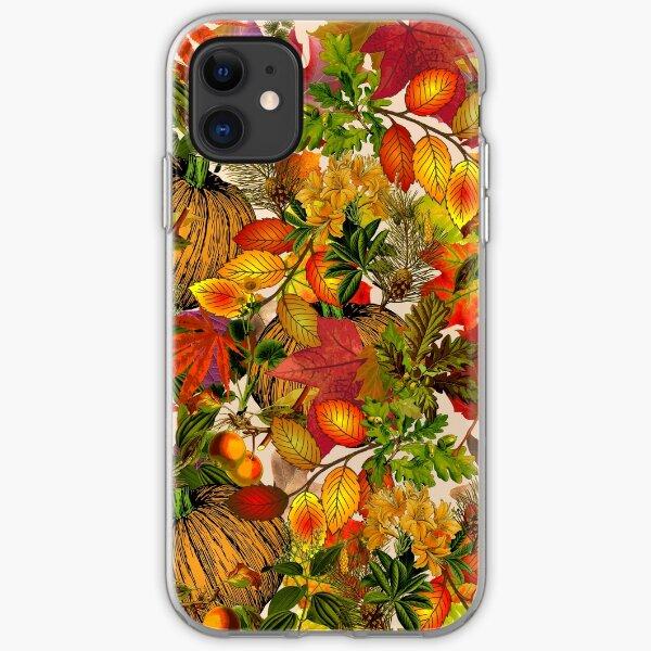 Autumn Fall Leaves Pumpkin Thanksgiving Seasonal Woodland Collage iPhone Soft Case