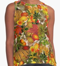 Autumn Fall Leaves Pumpkin Thanksgiving Seasonal Woodland Collage Sleeveless Top
