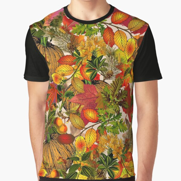 Autumn Fall Leaves Pumpkin Thanksgiving Seasonal Woodland Collage Graphic T-Shirt