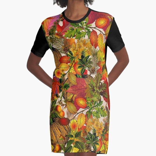 Autumn Fall Leaves Pumpkin Thanksgiving Seasonal Woodland Collage Graphic T-Shirt Dress