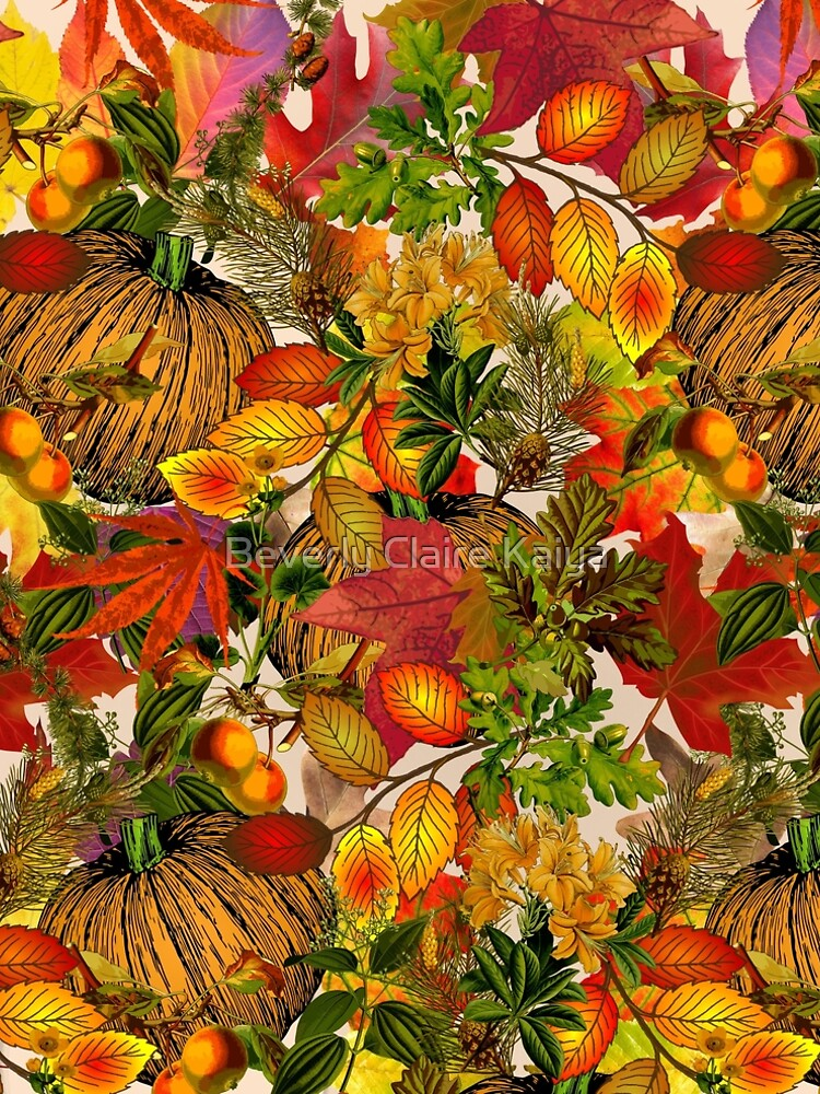 Autumn Fall Leaves Pumpkin Thanksgiving Seasonal Woodland Collage by beverlyclaire