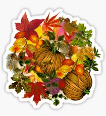 Autumn Fall Leaves Pumpkin Thanksgiving Seasonal Woodland Collage Sticker