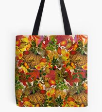Autumn Fall Leaves Pumpkin Thanksgiving Seasonal Woodland Collage Tote Bag