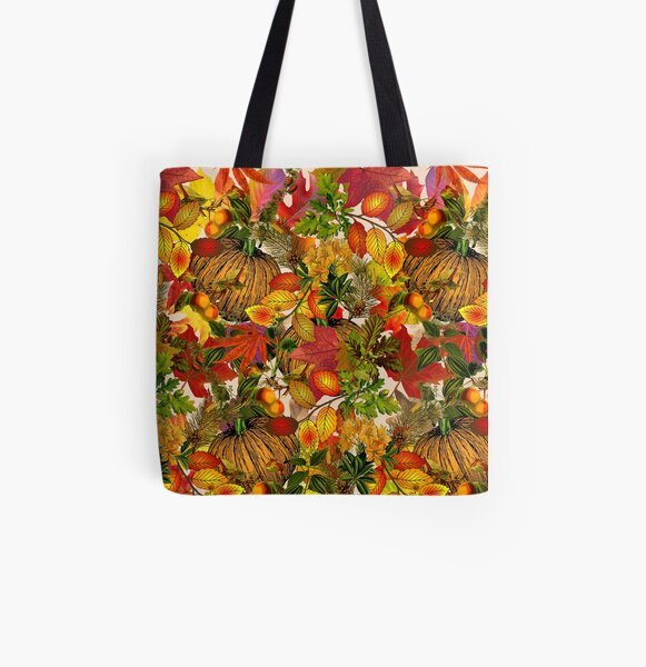 Autumn Fall Leaves Pumpkin Thanksgiving Seasonal Woodland Collage All Over Print Tote Bag