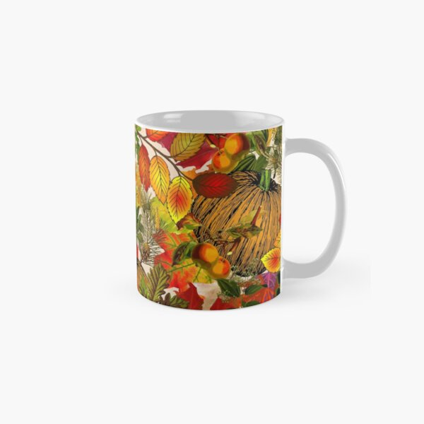 Autumn Fall Leaves Pumpkin Thanksgiving Seasonal Woodland Collage Classic Mug