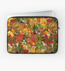 Autumn Fall Leaves Pumpkin Thanksgiving Seasonal Woodland Collage Laptop Sleeve
