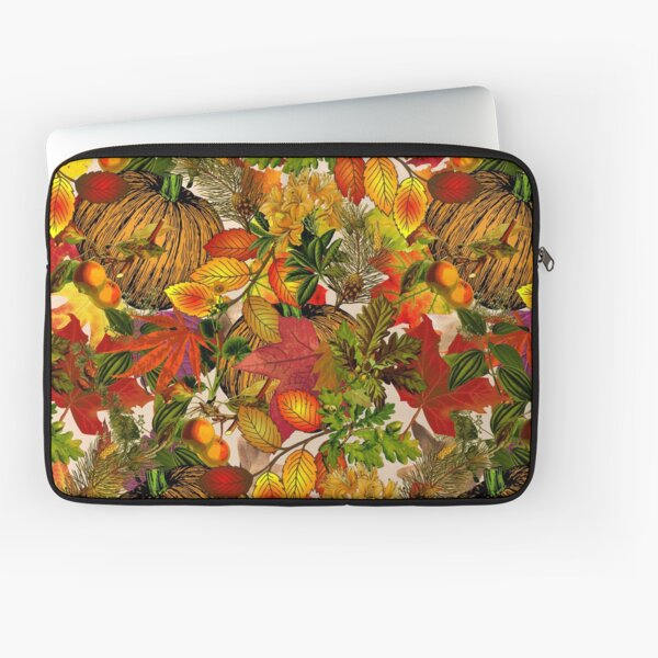 Autumn Fall Leaves Pumpkin Thanksgiving Seasonal Woodland Collage Laptop Sleeve