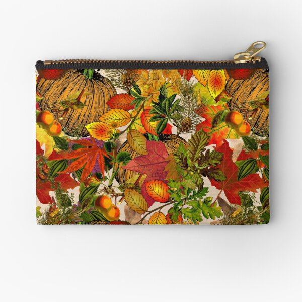 Autumn Fall Leaves Pumpkin Thanksgiving Seasonal Woodland Collage Zipper Pouch