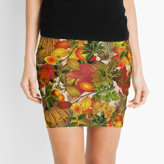 Autumn Fall Leaves Pumpkin Thanksgiving Seasonal Woodland Collage Mini Skirt