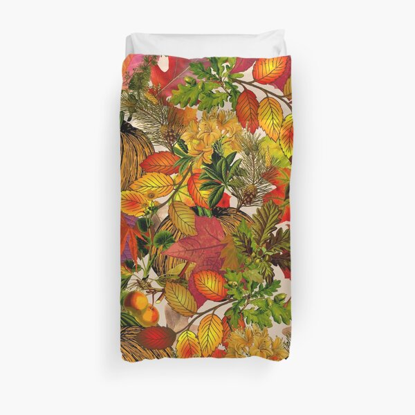 Autumn Fall Leaves Pumpkin Thanksgiving Seasonal Woodland Collage Duvet Cover