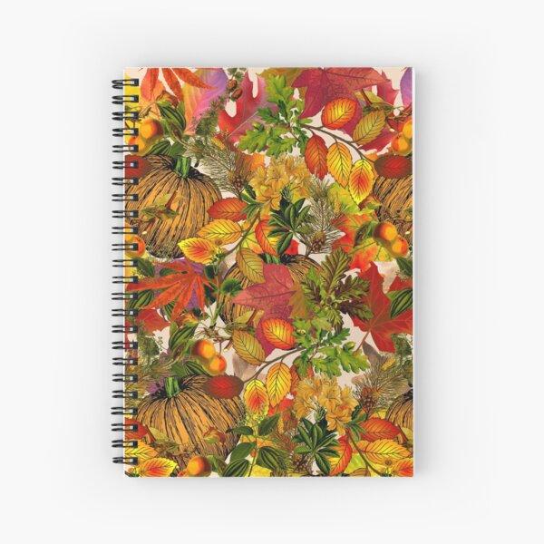 Autumn Fall Leaves Pumpkin Thanksgiving Seasonal Woodland Collage Spiral Notebook