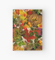 Autumn Fall Leaves Pumpkin Thanksgiving Seasonal Woodland Collage Hardcover Journal