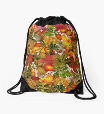 Autumn Fall Leaves Pumpkin Thanksgiving Seasonal Woodland Collage Drawstring Bag