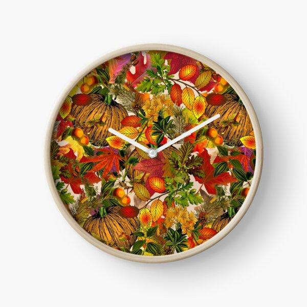 Autumn Fall Leaves Pumpkin Thanksgiving Seasonal Woodland Collage Clock