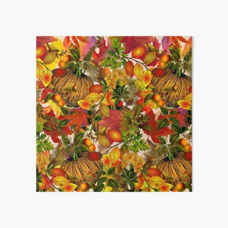 Autumn Fall Leaves Pumpkin Thanksgiving Seasonal Woodland Collage Art Board Print