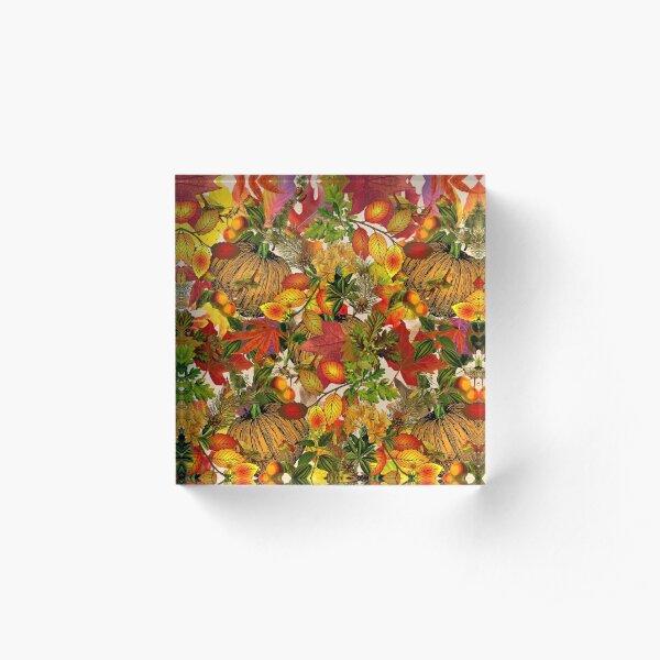 Autumn Fall Leaves Pumpkin Thanksgiving Seasonal Woodland Collage Acrylic Block