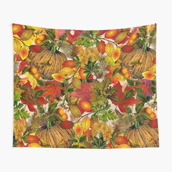 Autumn Fall Leaves Pumpkin Thanksgiving Seasonal Woodland Collage Tapestry