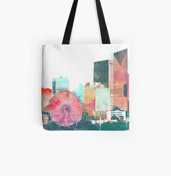 downtown atlanta skyline in color All Over Print Tote Bag