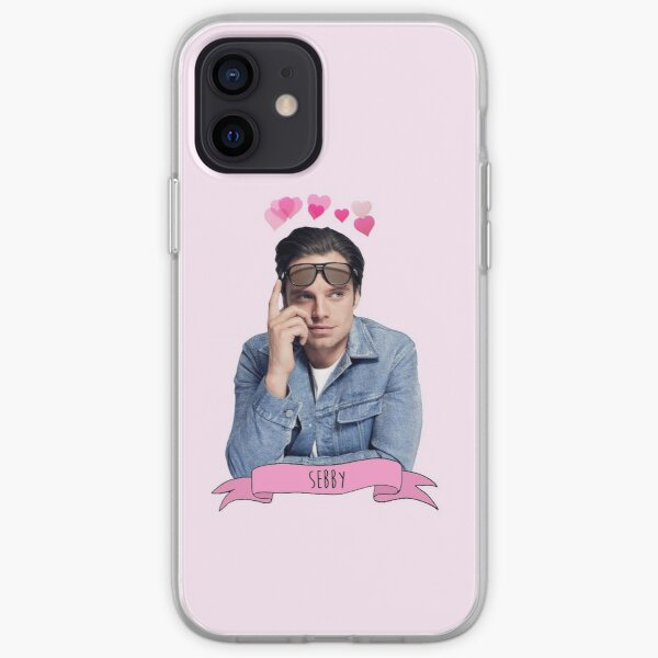 Sebastian stan with love hearts over his head iPhone Soft Case