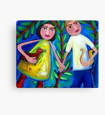 ORPHEUS  AND  EURYDICE  DANCING  WITH  THE  LOVEBIRD Canvas Print