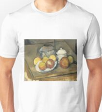 Paul Cézanne - Straw-Trimmed Vase, Sugar Bowl and Apples (1893) T-Shirt