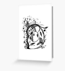 The Letter D Alphabet Aussie Tangle in Black and White Greeting Card