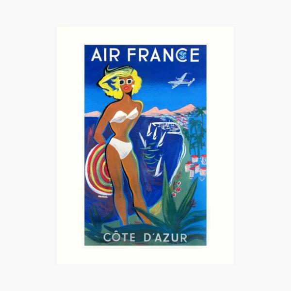 1953 Air France Cote D'Azur Travel Poster Art Print