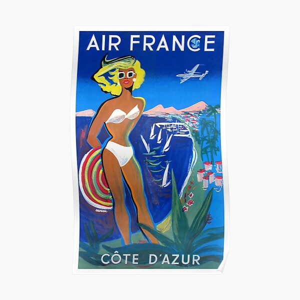 1953 Air France Cote D'Azur Travel Poster Poster