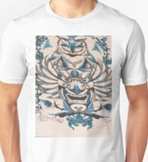 Blue Silver Owl Perched Over Asian Theater Mask Art Design  T-Shirt