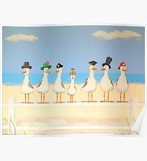 Seagulls with Hats Poster