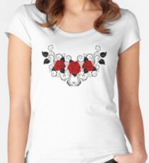 Symmetrical Pattern of Red Roses (without a shadow) Women's Fitted Scoop T-Shirt