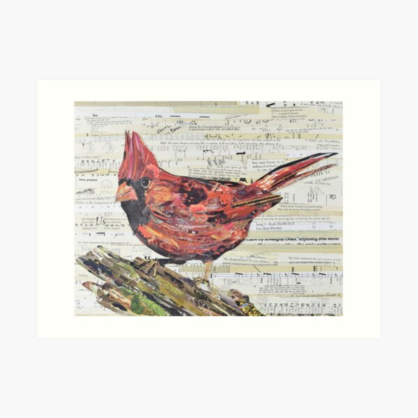 Cardinal Collage by C.E. White - Red Bird Art Print