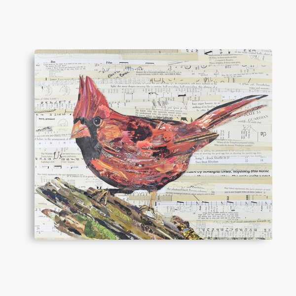 Cardinal Collage by C.E. White - Red Bird Metal Print