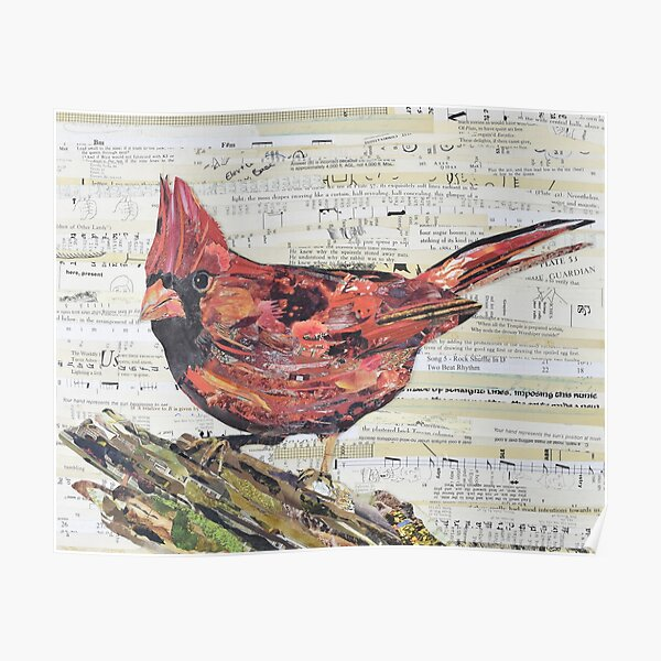 Cardinal Collage by C.E. White - Red Bird Poster