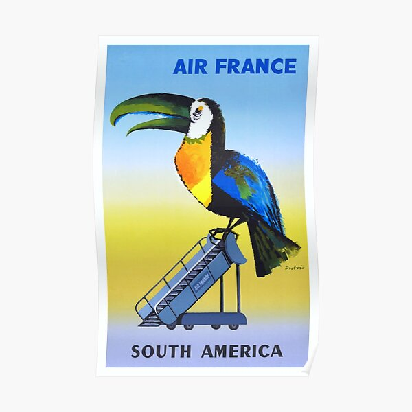 1956 Air France South America Toucan Travel Poster Poster