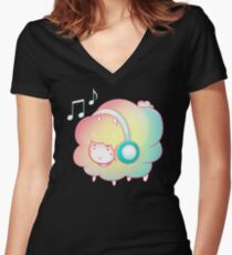 DJ Rainbow Sheep Women's Fitted V-Neck T-Shirt