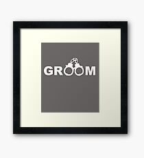 Funny Groom Handcuff Design / Lustig: Bräutigam, Handschellen. Framed Print