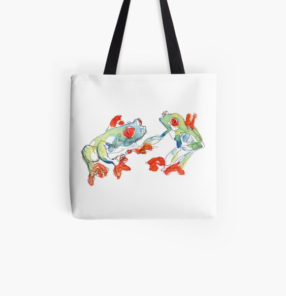 Tree Frogs All Over Print Tote Bag