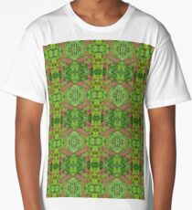 Red and Green Leaf Autumn Fall Unique Flower Photo Bold Bright Pattern Print  Long T-Shirt