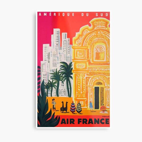 Cartel de viaje de Air France Amérique du Sud 1958 Lámina metálica