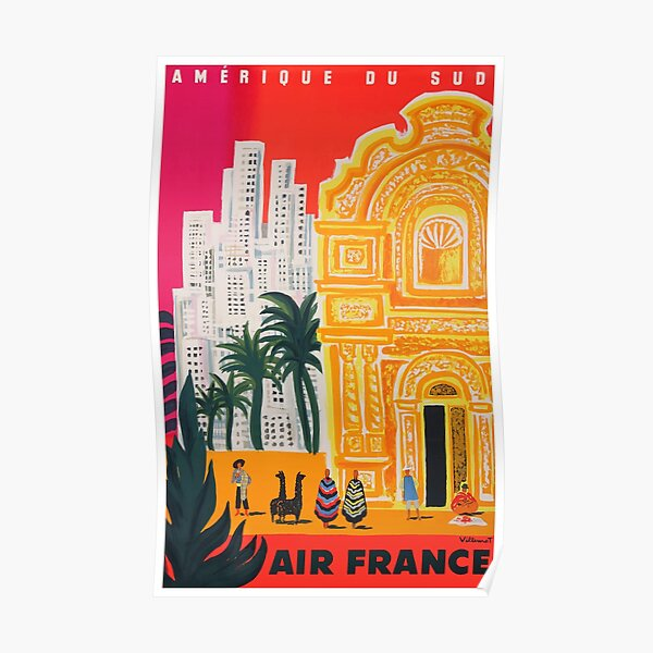 Cartel de viaje de Air France Amérique du Sud 1958 Póster