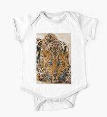 Bright blue eyes leopard cat with orange and black spots Kids Clothes